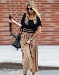Дълга рокля в цвят капучино и черно - код 2534