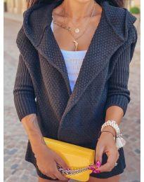 Къса плетена жилетка в черно - код 7823