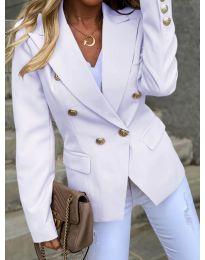 Вталено дамско сако с копчета в бял цвят - код 426