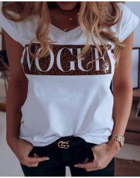 Дамска тениска в бяло с принт - код 2621