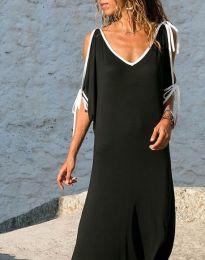 Свободна дълга рокля в черно - код 8251