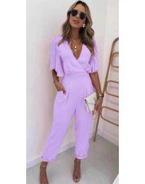 Стилен дамски гащеризон в лилав цвят - код 700