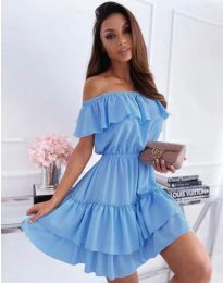 Кокетна къса рокля в светлосиньо - код 6777