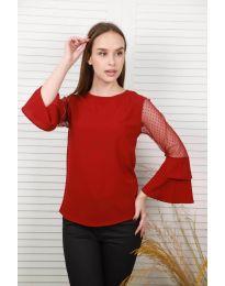 Ефирна дамска блуза в бордо - код 0643