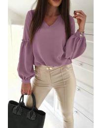 Изчистена дамска риза в лилаво - код 685