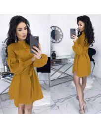 Елегантна рокля в цвят горчица - код 6364