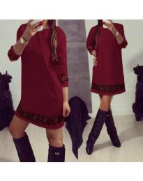 Дамска рокля със 7/8 ръкави и дантела в бордо - код 345
