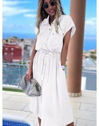 Дълга рокля с копчета в бяло - код 0014