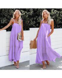 Дълга ефирна рокля в лилав цвят - код 551