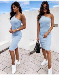 Дамска рокля в светло синьо с голо рамо - код 0208