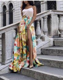 Атрактивна дълга пола с панделка и флорален десен - код 4677 - 1
