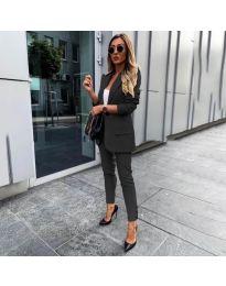 Елегантен комплект от сако и панталон в черно - код 862