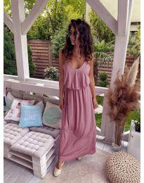 Дълга дамска рокля в цвят пудра - код 635
