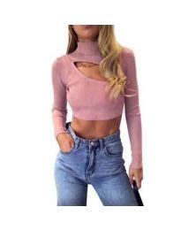 Дамска блуза в цвят пудра - код 9622