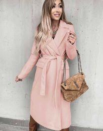 Дълго дамско палто в розово - код 0876