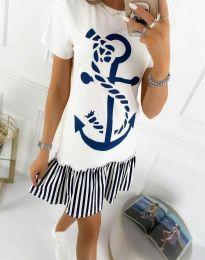 Дамска рокля в бяло и синьо - код 1290