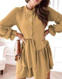 Атрактивна дамска рокля в цвят капучино - код 2829