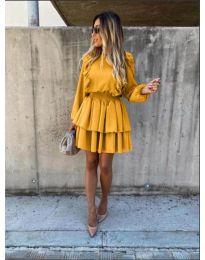 Елегантна рокля в цвят горчица - код 7723