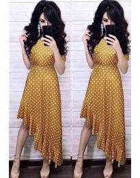 Елегантна рокля в цвят горчица - код 3013