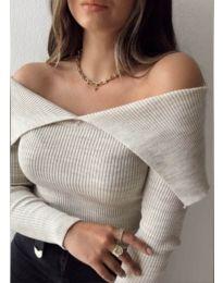 Дамска блуза с лодка деколте в сиво - код 5222