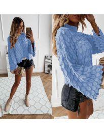 Ефектен дамски пуловер в светло синьо - код 8092