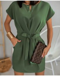 Елегантна рокля в маслено зелено - код 772