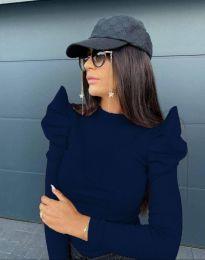 Стилна дамска блуза в тъмносиньо - код 2838