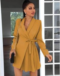 Елегантна рокля в цвят горчица - код 0333