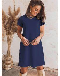Изчистена рокля в  синьо - код 2299
