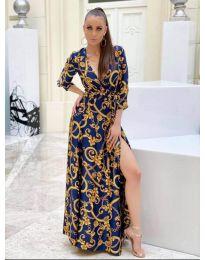 Дълга рокля с цепка в синьо - код 4489 - 1