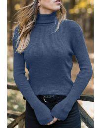 Дамска блуза с поло яка в тъмно синьо - код 518