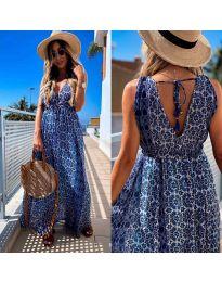 Дълга рокля с атрактивен десен в тъмно синьо - код 675