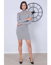 Дамска рокля по тялото в сиво - код 6099
