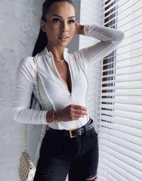 Секси дамско боди в бяло с цип - код 11595