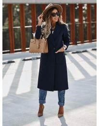 Дълго дамско палто в тъмно синьо - код 9493