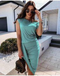 Дамска спортно-елегантна рокля в цвят тюркоаз - код 138