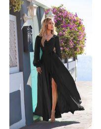 Дълга рокля с цепка в черно - код 8477