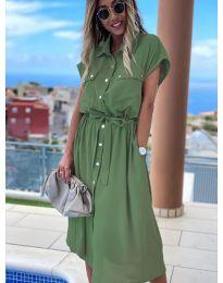 Дълга рокля с копчета в маслено зелено - код 0014