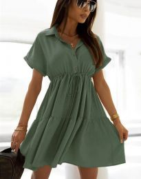 Разкроена дамска рокля в масленозелено - код 6292