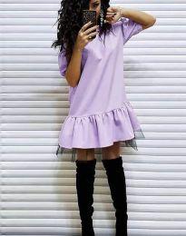 Дамска рокля в светлолилаво - код 2856