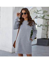 Изчистена рокля в сиво - код 785
