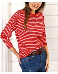 Дамска блуза на райе в червено - код 3328