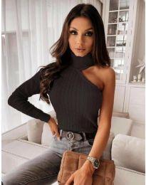 Ефектна дамска блуза в черно - код 0828