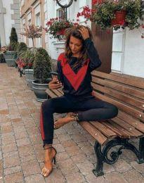 Спортен дамски комплект в черно и червено - код 6478