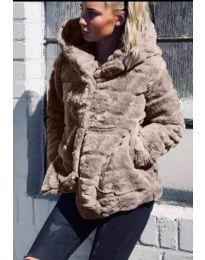 Дамско късо палто в  бежово - код 9202
