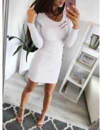 Дамска рокля по тялото в бяло - код 3298