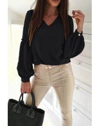 Изчистена дамска риза в черно - код 685