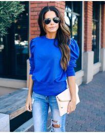 Блуза с бухнали ръкави в синьо - код 398
