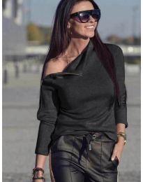 Блуза с цип на рамото в черно - код 261
