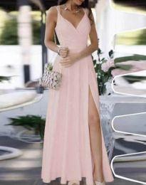 Елегантна дълга рокля в бледорозово - код 8489